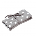 Full Grey Polka Dots Spots Design Crochet Hook Roll Tied Case Knitting Craft Storage