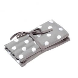 Full Grey Polka Dots Spots Design Crochet Hook Roll Tied Case Knitting Craft Storage