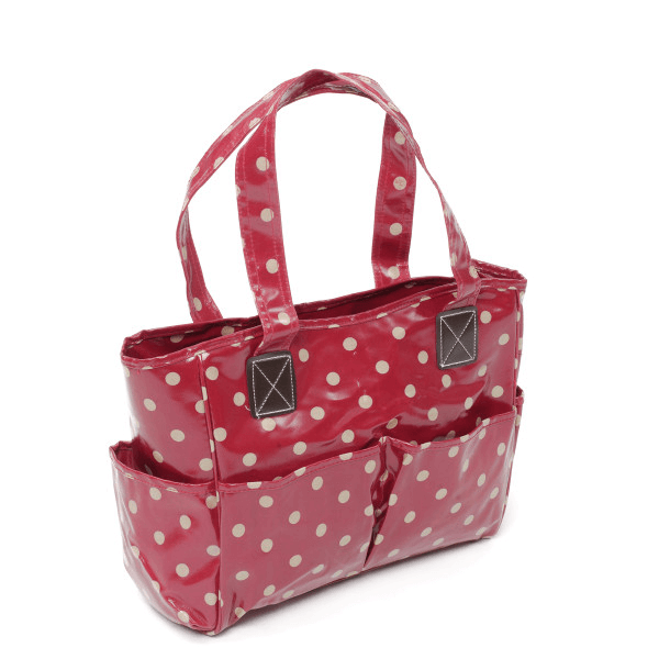 Cherry Polka Dots Value PVC Sewing Knitting Craft Bag