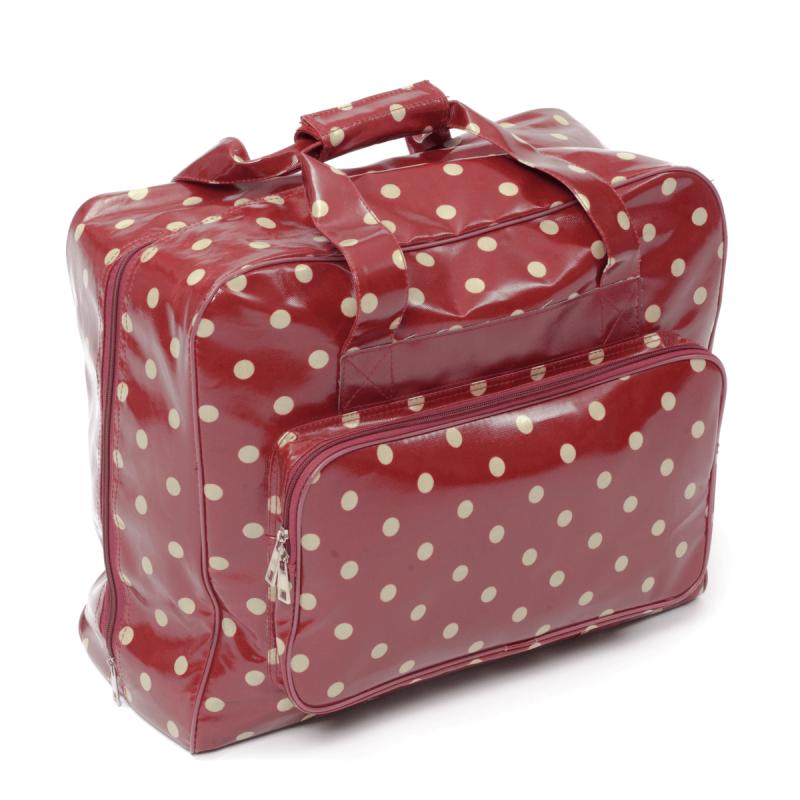 Burgundy Polka Dots Value PVC Sewing Knitting Craft Bag