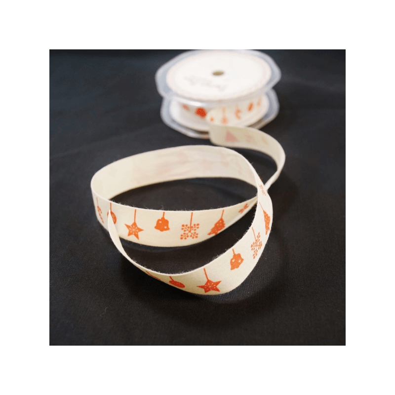 20mm Christmas Decorations Vintage Print Bertie's Bows Cotton Craft Ribbon