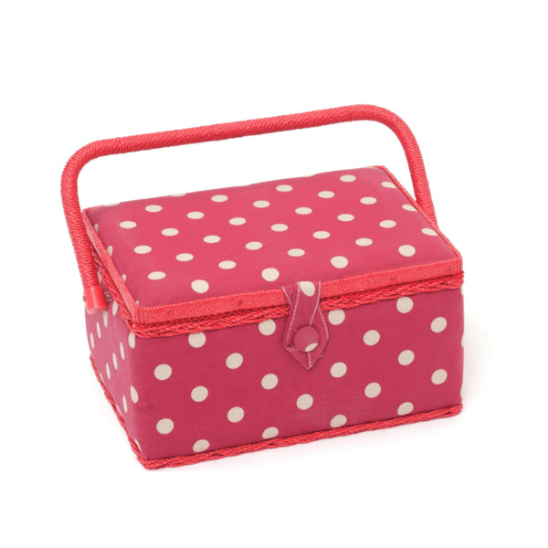 Red Polka Dots Spots Medium Value Sewing Craft Basket