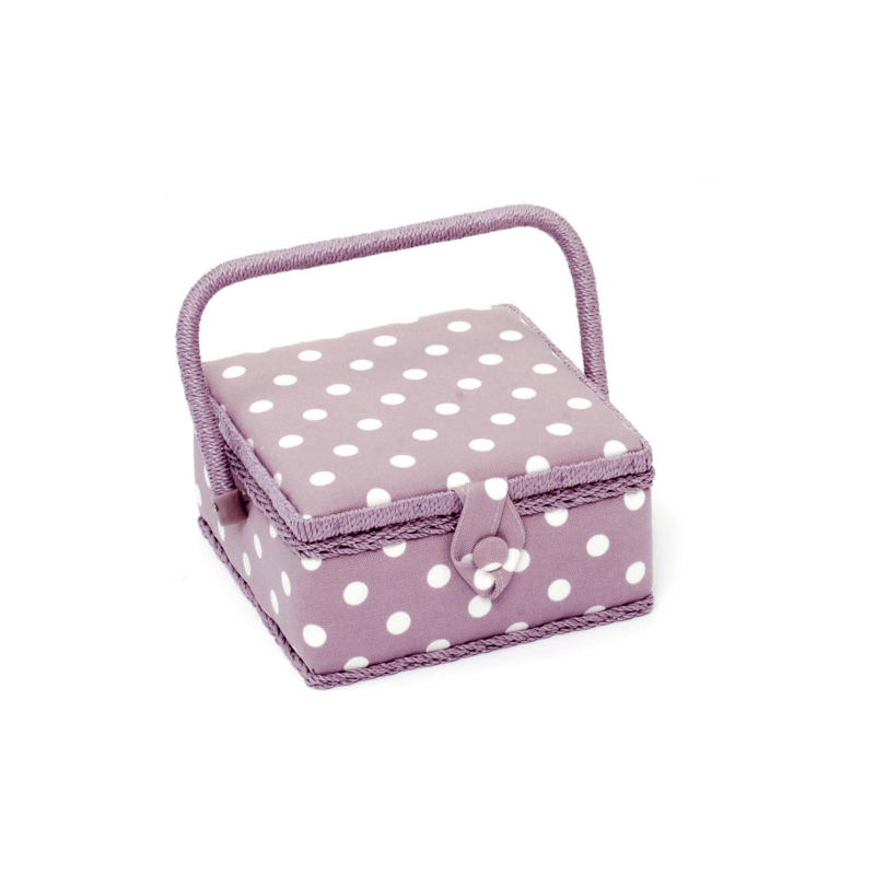 Mauve Polka Dots Spots Small Square Value Sewing Craft Basket