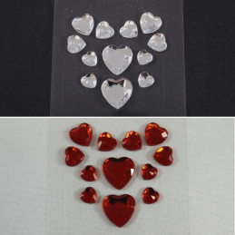 12 x Various Size Heart Diamante Embellishments Craft Cardmaking Scrapbooking
