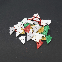 5, 10 or 20 x 20mm Christmas Tree Glitter Xmas Craft Buttons