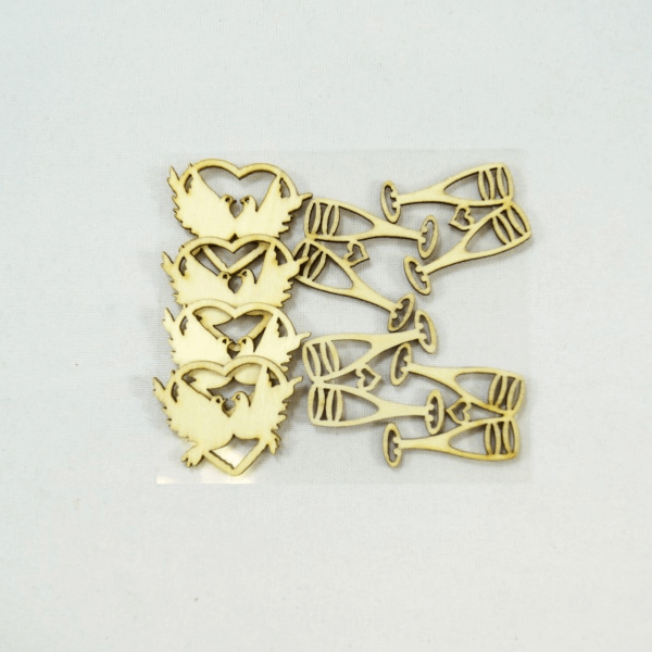 8 x Wooden Wedding Love Cut Outs Embellishments Craft Cardmaking Scrapbooking