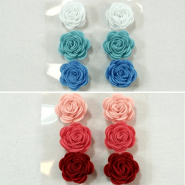 6 x Felt Flowers Roses Embellishments Craft Cardmaking Scrapbooking