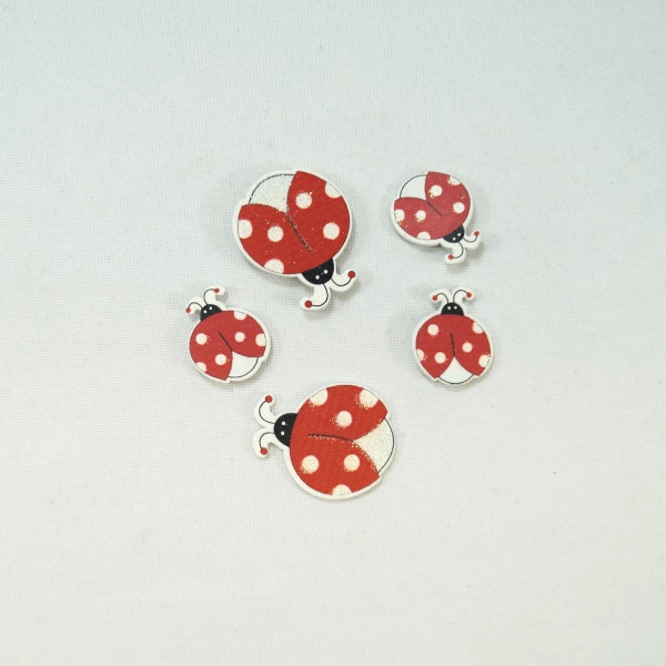 5 x Wooden Glitter Ladybirds Embellishments Craft Cardmaking Scrapbooking