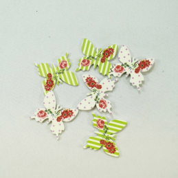6 x Stripes Polka Dot Butterflies Embellishments Craft Cardmaking Scrapbooking