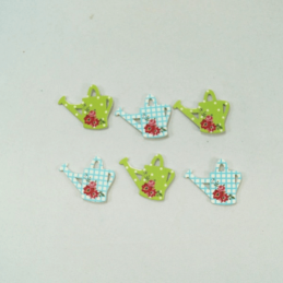 6 x Watering Cans Polka Dot Check Embellishments Craft Cardmaking Scrapbooking