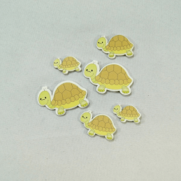 6 x Wooden Tortoise Family Embellishments Craft Cardmaking Scrapbooking