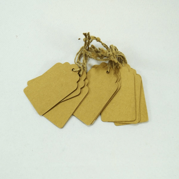 12 x Brown Card Rectangle Gift Tags Embellishments Craft Cardmaking Scrapbooking
