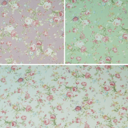 100% Cotton Poplin Fabric Rose & Hubble Roses Bunches Flower Of Love