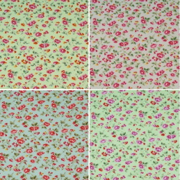 100% Cotton Poplin Fabric Rose & Hubble Pink Rose Heads Vine Floral Flowers
