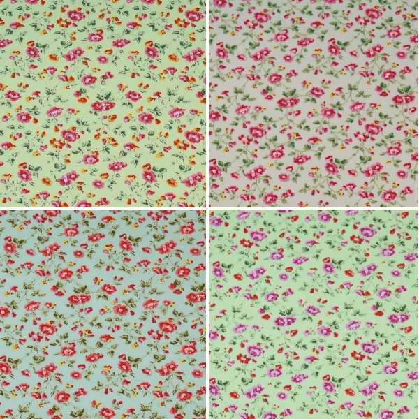 Pink Rose Heads Vine Garden Floral Flowers 100% Cotton Poplin Fabric