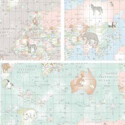 100% Cotton Fabric Lifestyle Animal Planet World Map Wildlife 140cm Wide