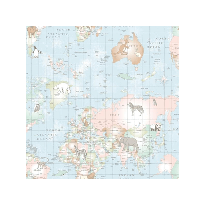 Blue Lifestyle Animal Planet World Map Countries Wildlife 100% Cotton Fabric