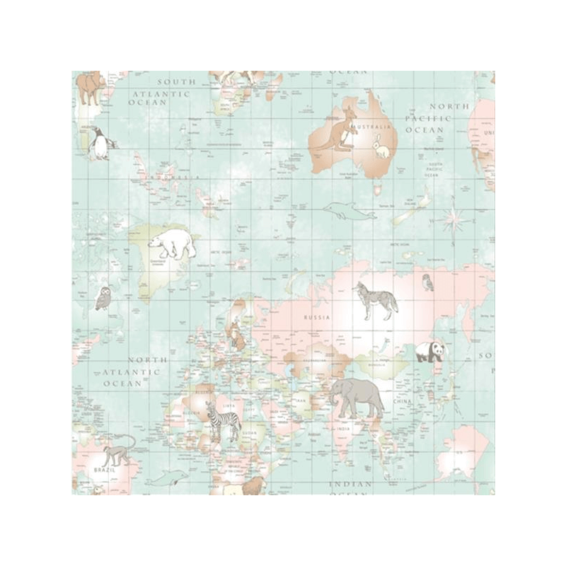 Duck Egg Lifestyle Animal Planet World Map Countries Wildlife 100% Cotton Fabric