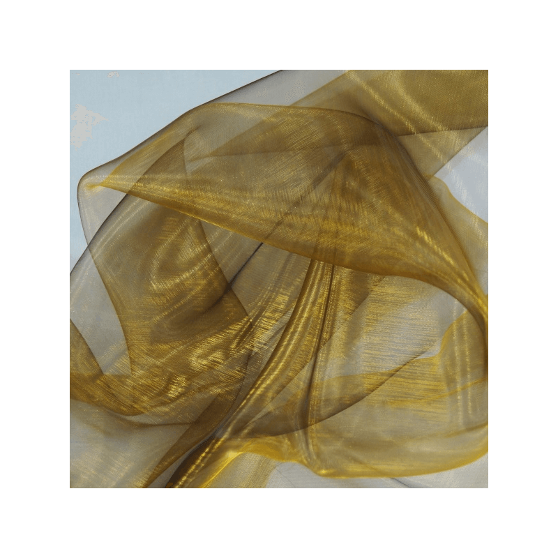 Two Tone Satin Sheer Organza Voile Curtain Wedding Fabric Antique Gold/Black