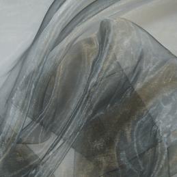 Two Tone Satin Sheer Organza Voile Curtain Wedding Fabric Silver/Black
