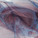 Two Tone Satin Sheer Organza Voile Curtain Wedding Fabric Wine/Blue