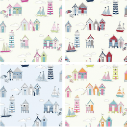 100% Cotton Fabric Lifestyle Beach Huts Happy Days