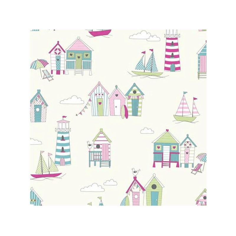 Candy 100% Cotton Fabric Lifestyle Beach Huts Happy Days