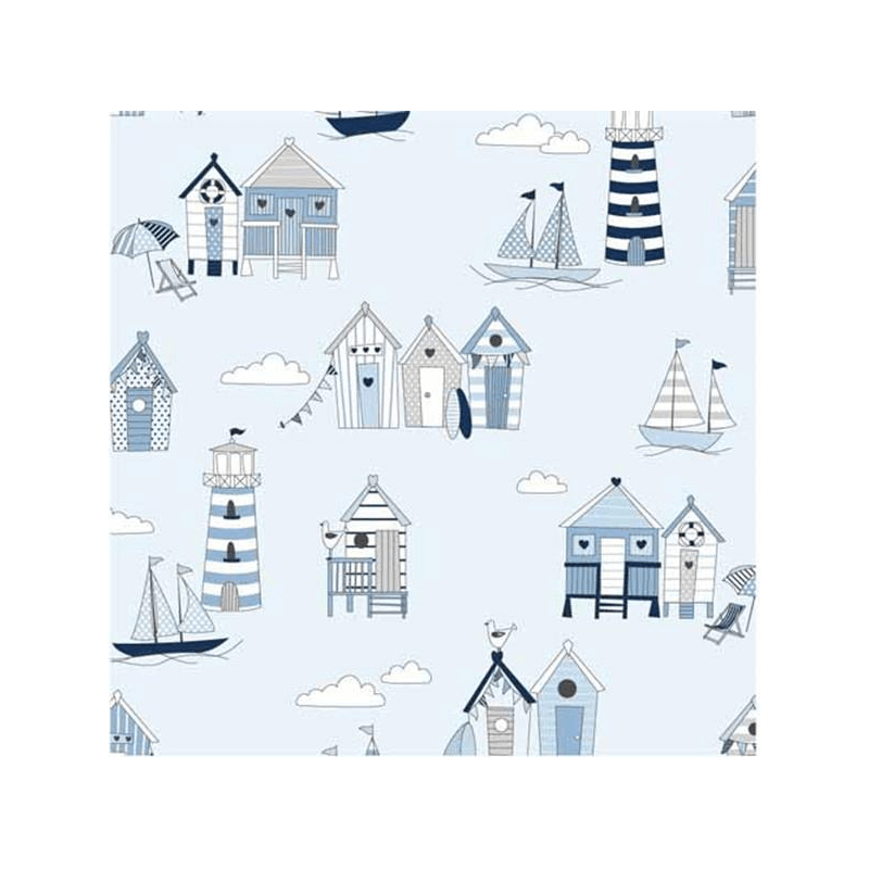 Powder Blue 100% Cotton Fabric Lifestyle Beach Huts Happy Days