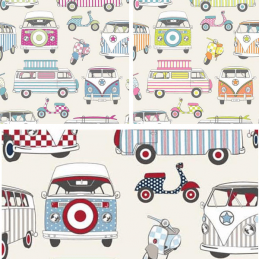 100% Cotton Fabric Lifestyle Happy Campers Camper Van Scooter Moped