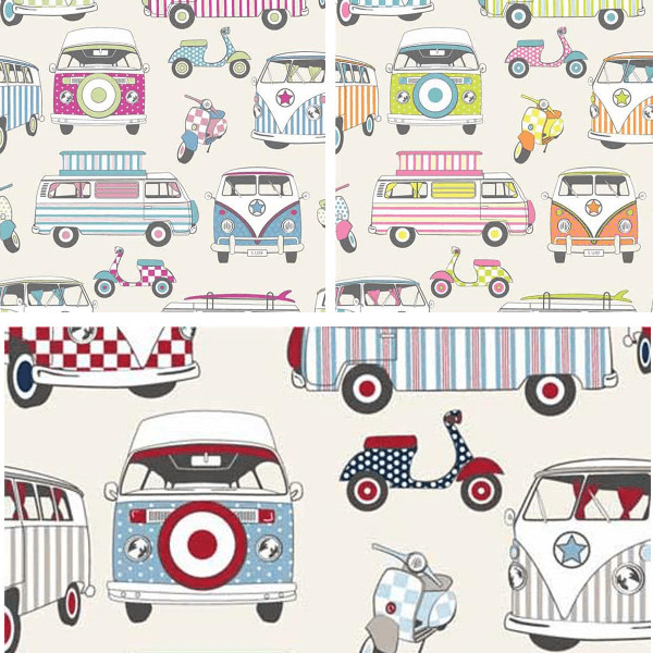 Candy 100% Cotton Fabric Lifestyle Happy Campers Camper Van