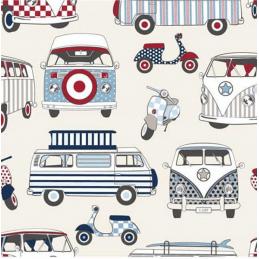 Nautical 100% Cotton Fabric Lifestyle Happy Campers Camper Van