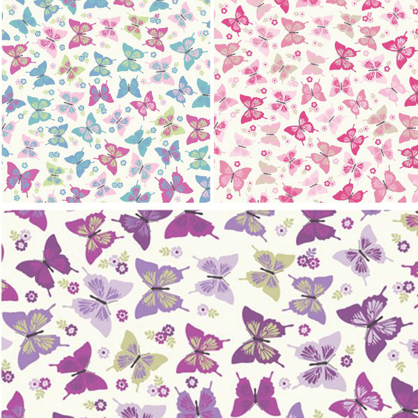 Candy 100% Cotton Fabric Lifestyle Flutterby Butterflies