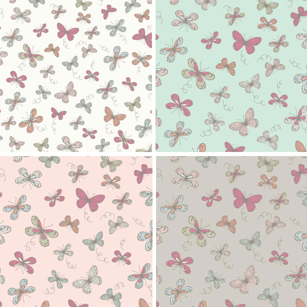 Duck Egg 100% Cotton Fabric Lifestyle Woodland Butterflies