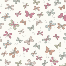 Cream 100% Cotton Fabric Lifestyle Woodland Butterflies