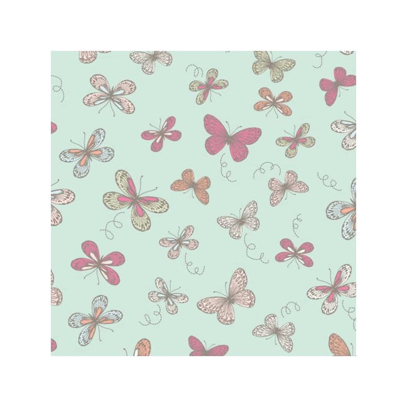 Duck Egg 100% Cotton Fabric Lifestyle Woodland Butterflies