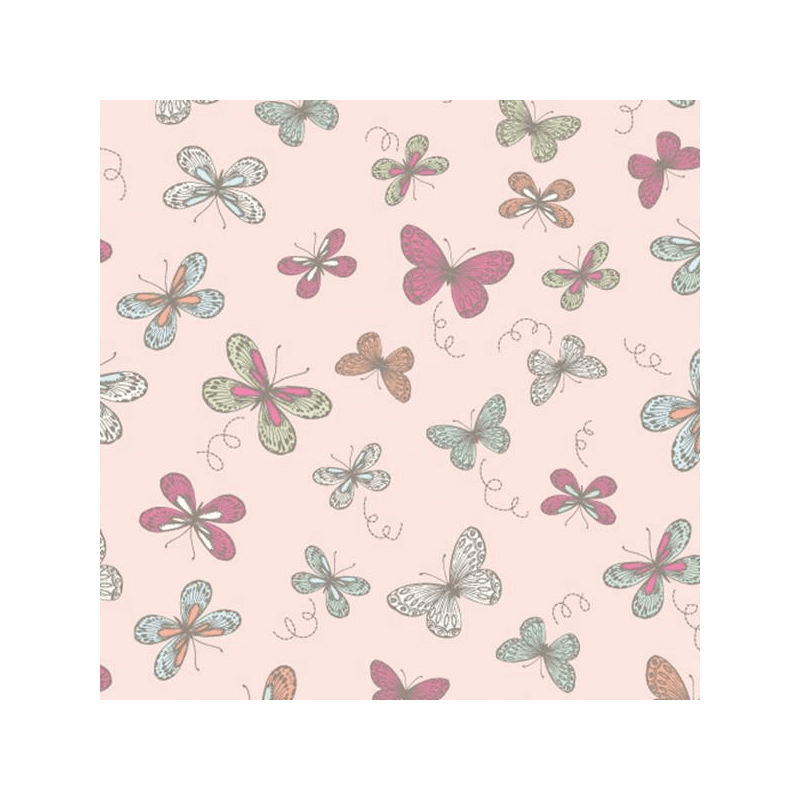 Pink 100% Cotton Fabric Lifestyle Woodland Butterflies
