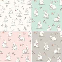 100% Cotton Fabric Lifestyle Woodland Bunnies Rabbits Wildlife 140cm Wide