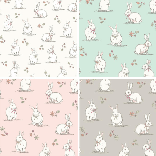 Pink 100% Cotton Fabric Lifestyle Woodland Bunnies Rabbits