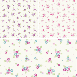 Ditsy Flowers Floral Polka Dots 100% Cotton Fabric 140cm Wide