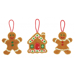 Christmas Gingerbread Felting Kit 3 Ornaments Craft