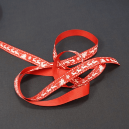 16mm Christmas Santa's Sleigh Reindeer Bertie's Bows Polyester Craft Ribbon