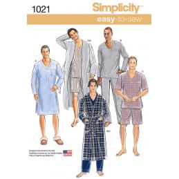 Men's Classic Pyjamas and Bathrobe Nightwear Simplicity Sewing Pattern 1021
