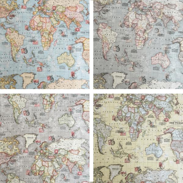 World Map Atlas Cotton Linen Look Upholstery Panama Rich Fabric