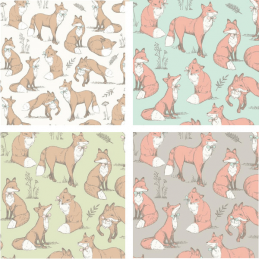 100% Cotton Fabric Lifestyle Mrs Fox Bushy Tail Foxes 140cm Wide