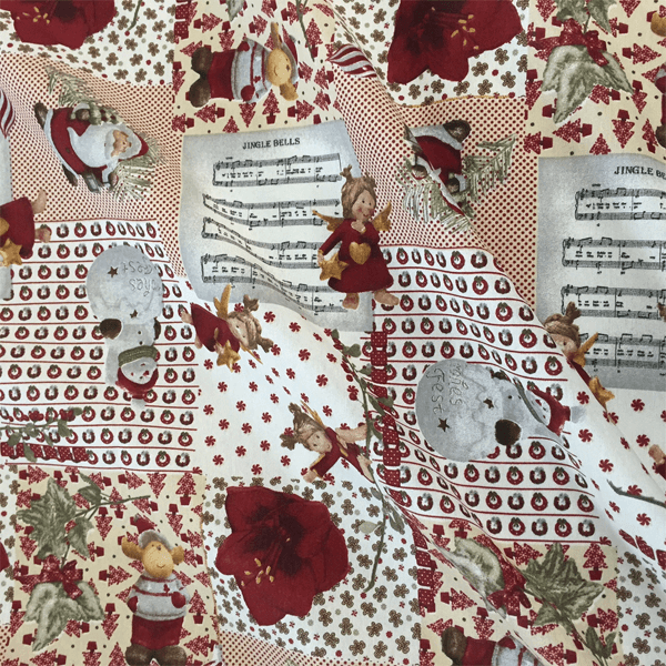 Christmas Musical Santa Snowman Cotton Linen Look Upholstery Panama Fabric
