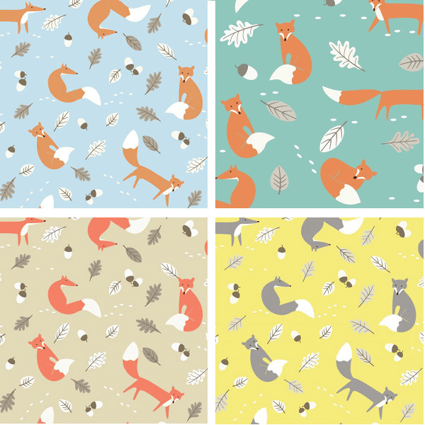 Blue 100% Cotton Fabric Lifestyle Mr Fox