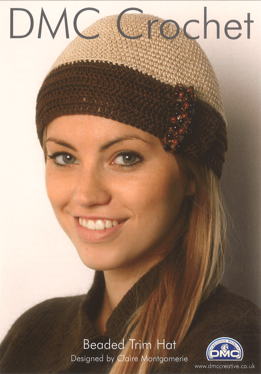Beaded Trim Winter Hat Winter Craft DMC Petra Crochet Pattern D11885L2