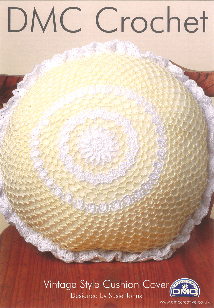 Vintage Style Round Cushion Cover Craft DMC Petra Crochet Pattern D11890L2