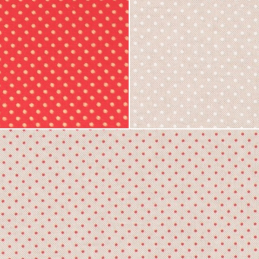 2mm Polka Dot Pin Spot Red Gold Natural Cotton Rich Linen Look Upholstery Fabric