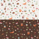 Woodland Creatures Owl Fox Hedgehog Cotton Rich Linen Look Upholstery Fabric